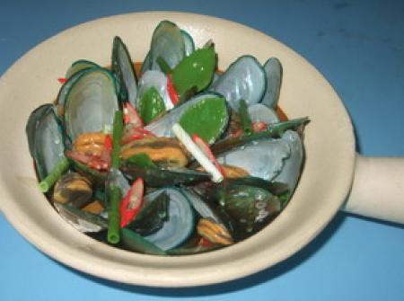 โมเดลอาหารทะเล หอยแมลงภู่อบ